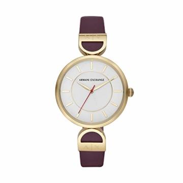 Armani Exchange Damen Analog Quarz Uhr mit Leder Armband AX5326 - 1