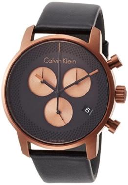 Calvin Klein Herren Chronograph Quarz Uhr mit Leder Armband K2G17TC1 - 1