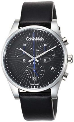 Calvin Klein Herren Chronograph Quarz Uhr mit Leder Armband K8S271C1 - 1