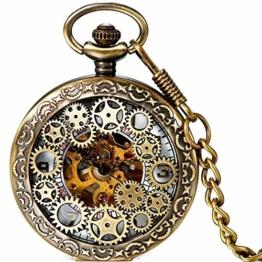 Damen Herren Steampunk Automatik mechanische Taschenuhr Bronze, LANCARDO Retro Zahnrad Ritzel Mechanische Kettenuhr Skelett Uhr mit Halskette Kette - 1