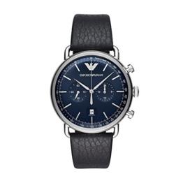 Emporio Armani Herren Analog Quarz Uhr mit Leder Armband AR11105 - 1