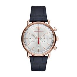 Emporio Armani Herren Chronograph Quarz Smart Watch Armbanduhr mit Leder Armband AR11123 - 1