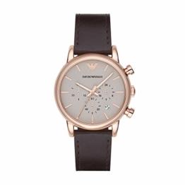 Emporio Armani Herren Chronograph Quarz Uhr mit Leder Armband AR2074 - 1
