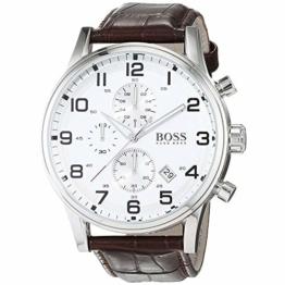 Hugo Boss Herren-Armbanduhr 44mm Armband Kalbsleder Braun Quarz 1512447 - 1
