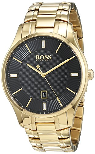 Hugo BOSS Herren Datum klassisch Quarz Uhr mit Edelstahl Armband 1513521 - 1