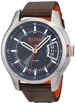 Hugo Boss Orange Hong Kong Herren-Armbanduhr Analog mit braunem Textil Armband 1550002 - 1