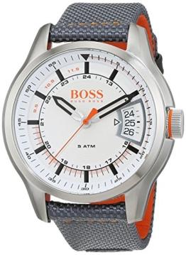 Hugo Boss Orange Hong Kong Herren-Armbanduhr Analog mit grauem Textil Armband 1550015 - 1