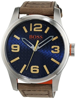 Hugo Boss Orange Paris Herren-Armbanduhr Quartz mit braunem Leder Armband 1513352 - 1