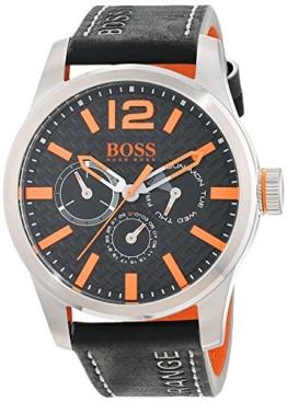 Hugo Boss Orange Paris Herren-Armbanduhr Quartz mit schwarzem Leder Armband 1513228 - 1