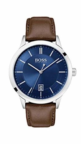 Hugo Boss Watch Herren Analog Quarz Uhr mit Leder Armband 1513612 - 1