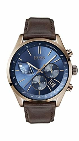 Hugo Boss Watch Herren Chronograph Quarz Uhr mit Leder Armband 1513604 - 1