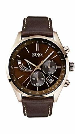 Hugo Boss Watch Herren Chronograph Quarz Uhr mit Leder Armband 1513605 - 1