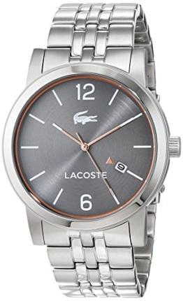 Lacoste Herren Datum klassisch Quarz Uhr mit Edelstahl Armband 2010927 - 1
