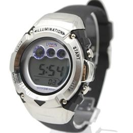 Alexis Herren Runden Uhren Schwarz Kunststoffband Weis Dial Wasserdicht Alarm Stoppuhr Backlight 12/24 Hour Mode - 1