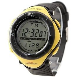 Alexis Unisex Runden Uhren Schwarz Kunststoffband Weis Dial Wasserdicht Alarm Stoppuhr Back Light 12/24 Hour Mode - 1