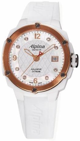 ALPINA DAMEN-ARMBANDUHR 42MM ARMBAND KAUTSCHUK WEIß QUARZ AL-240MPWD3AEC4 - 1