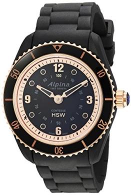 Alpina Damen '' Comtesse 'Swiss Quarz Edelstahl und Gummi Fitness Uhr, Farbe: Schwarz (Modell: al-281by3V4) - 1