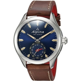 Alpina Herren Analog Quarz Uhr mit Leder Armband AL-285NS5AQ6 - 1