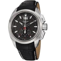 ALPINA Herren-Armbanduhr 44MM Armband Kalbsleder Schweizer Quarz AL-353B4RC6 - 1