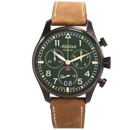 Alpina Herren Chronograph Quarz Uhr mit Leder Armband AL-372GR4FBS6 - 1