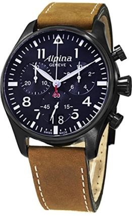 Alpina Herren Chronograph Quarz Uhr mit Leder Armband AL-372N4FBS6 - 1
