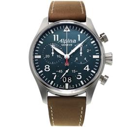 Alpina Herren Chronograph Quarz Uhr mit Leder Armband AL-372N4S6 - 1