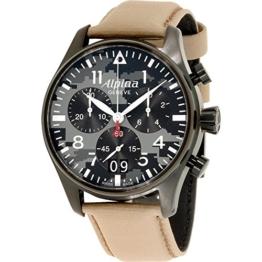 Alpina Startimer Herren-Armbanduhr 44mm Armband Leder Quarz AL-372BGMLY4FBS6 - 1