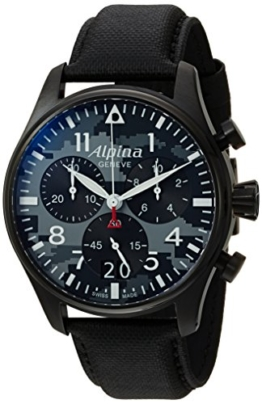 Alpina Startimer Herren-Armbanduhr 44mm Leder Schweizer Quarz AL-372BMLY4FBS6 - 1
