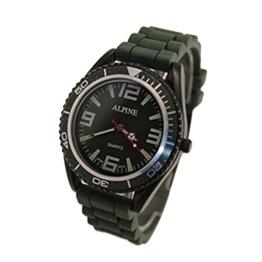 Alpine Unisex Armbanduhr Militär Grün Silikon Gummi Band Armee Stil Japanische Uhrenbewegung Analog - 1