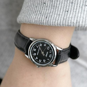CASIO Damen-Armbanduhr Analog Quarz Leder LTP-V001L-1 - 2