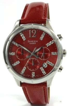 Casio Damen-Armbanduhr Chronograph Quarz Leder SHE-5020L-4AEF - 1