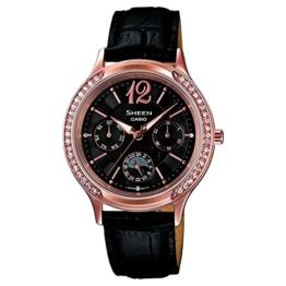 Casio Damen-Armbanduhr XS Chronograph Quarz Leder SHE-3030GL-5AUER - 1