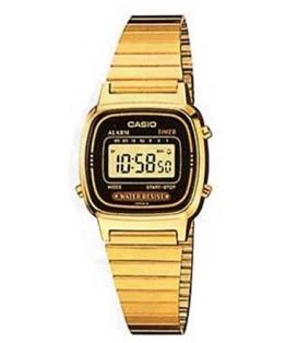 Casio LA-670WG-1 Damen-Armbanduhr, Quarz, digital, vergoldetes Zifferblatt, Armband aus vergoldetem Metall - 1