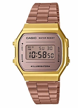 Casio Unisex Erwachsene Digital Quarz Uhr mit Edelstahl Armband A168WECM-5EF - 1
