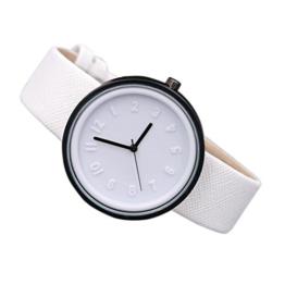 Damen Armbanduhr Neue Mode-Trend großes Gesicht Uhr für Damen und Mädchen, rosa, schwarz, blau, grün, orange, rot, weiß - Watch LANSKIRT (❤️Weiß) - 1