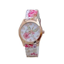 Design Blume Uhren Damen-Armbanduhr dünn Blumenmuster Zifferblatt Frauen Quarzuhr Silikon Gedrückt Blume Kausal Quarz-Armbanduhren LANSKIRT (❤️Rosa) - 1