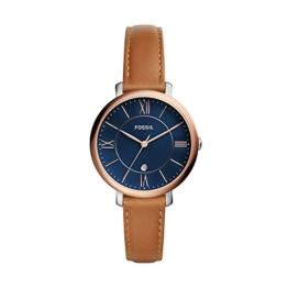 Fossil Damen Analog Quarz Uhr mit Leder Armband ES4274 - 1