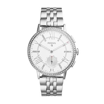 Fossil Damen Hybrid Smartwatch Q Gazer - Edelstahl - Silber – Elegante analoge Damenuhr mit vielen Smartfunktionen & bestückt mit glitzernden Steinchen – Für Android & iOS - 1