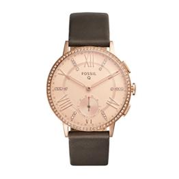 Fossil Damen Hybrid Smartwatch Q Gazer - Leder - Grau – Elegante analoge Damenuhr im Vintage Design mit vielen Smartfunktionen & glitzernden Steinchen – Für Android & iOS - 1