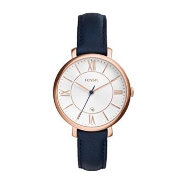 Fossil Jacqueline Leder Armbanduhr Damen blau / Mit Edelstahlgehäuse roségold, Quarz Uhrwerk & analoger Datumsanzeige - idealer Begleiter für jede Gelegenheit - 1