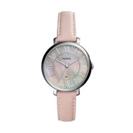 Fossil Jacqueline Leder Armbanduhr Damen rosa – Mit Edelstahlgehäuse silber, Quarz Uhrwerk & analoger Datumsanzeige - idealer Begleiter für jede Gelegenheit - 1
