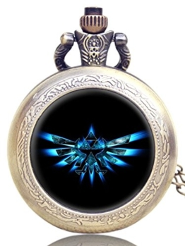 Geschenkbox Legend of Zelda Triforce Logo Antik Bronze Gravur Quarz-Taschenuhr/Kettenuhr - 1