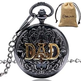 Herren Vintage Dad Vater Geschenk Hohl mechanische Hand Wind Taschenuhr mit Kette Weihnachts geschenke - 1