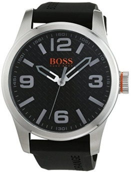 Hugo Boss Orange Paris Herren-Armbanduhr Quartz Analog mit schwarzem Silikon Armband 1513350 - 1