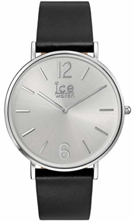 Ice-Watch - CITY tanner Black Silver - Schwarze Herrenuhr mit Lederarmband - 001514 - Schwarz/Weiß -Medium - 1