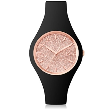 Ice-Watch - ICE glitter Black Rose-Gold - Silbergraue Damenuhr mit Lederarmband - 001346 (Small) - 1