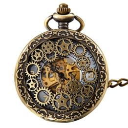 JewelryWe Retro Zahnrad Ritzel Hohe Openwork Handaufzug Mechanische Taschenuhr Skelett Uhr Pullover Halskette Kette - 1