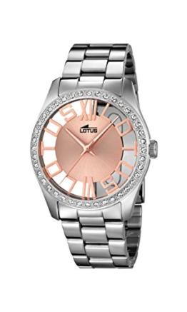 Lotus Damen Quarzuhr mit Rose Gold Zifferblatt Analog-Anzeige und Silber Edelstahl Armband 18126/1 - 1