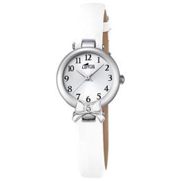 LOTUS Jugend-Uhr Junior Collection Analog Leder-Armband weiß Chronograph-Uhr Ziffernblatt silber UL18265/1 - 1