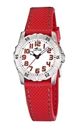 Lotus Kinder-Uhr mit Kautschuk rot und weißes Zifferblatt. W.R. 5ATM - 1